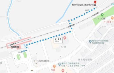 JR馬堀駅からのアクセス
