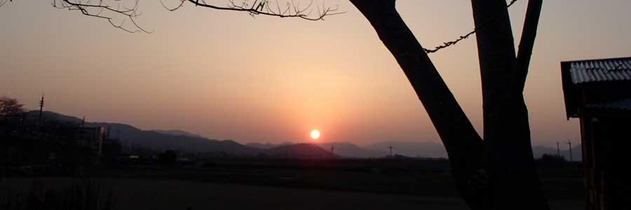 トムソーヤ保津川ベースから見える日の入り