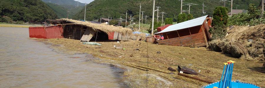 洪水の保津川ベース