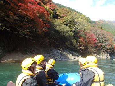 きれいな紅葉の保津峡