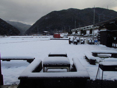 雪の保津川ベース